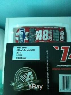 2014 Jimmie Johnson #48 Lowe's Red Vest Texas Fall Win 1/24 Scale Diecast