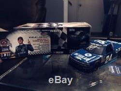 2016 Kyle Larson AUTOGRAPHED DC Solar Eldora Truck Race Win Diecast 1/24